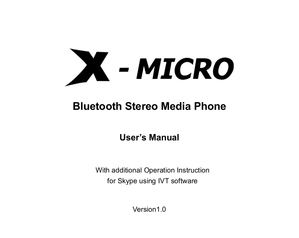 pdf for X-Micro Headset XBT-HS3X manual