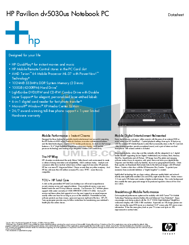 pdf for HP Laptop Pavilion DV5030 manual