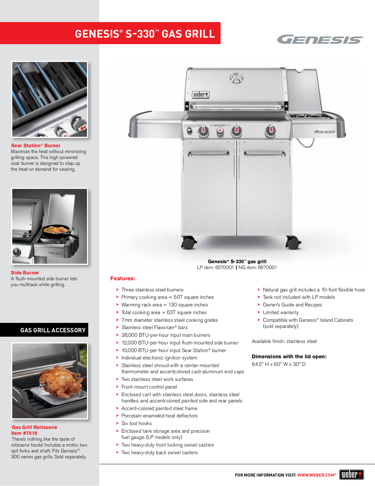 pdf for Weber Grill S-330 manual