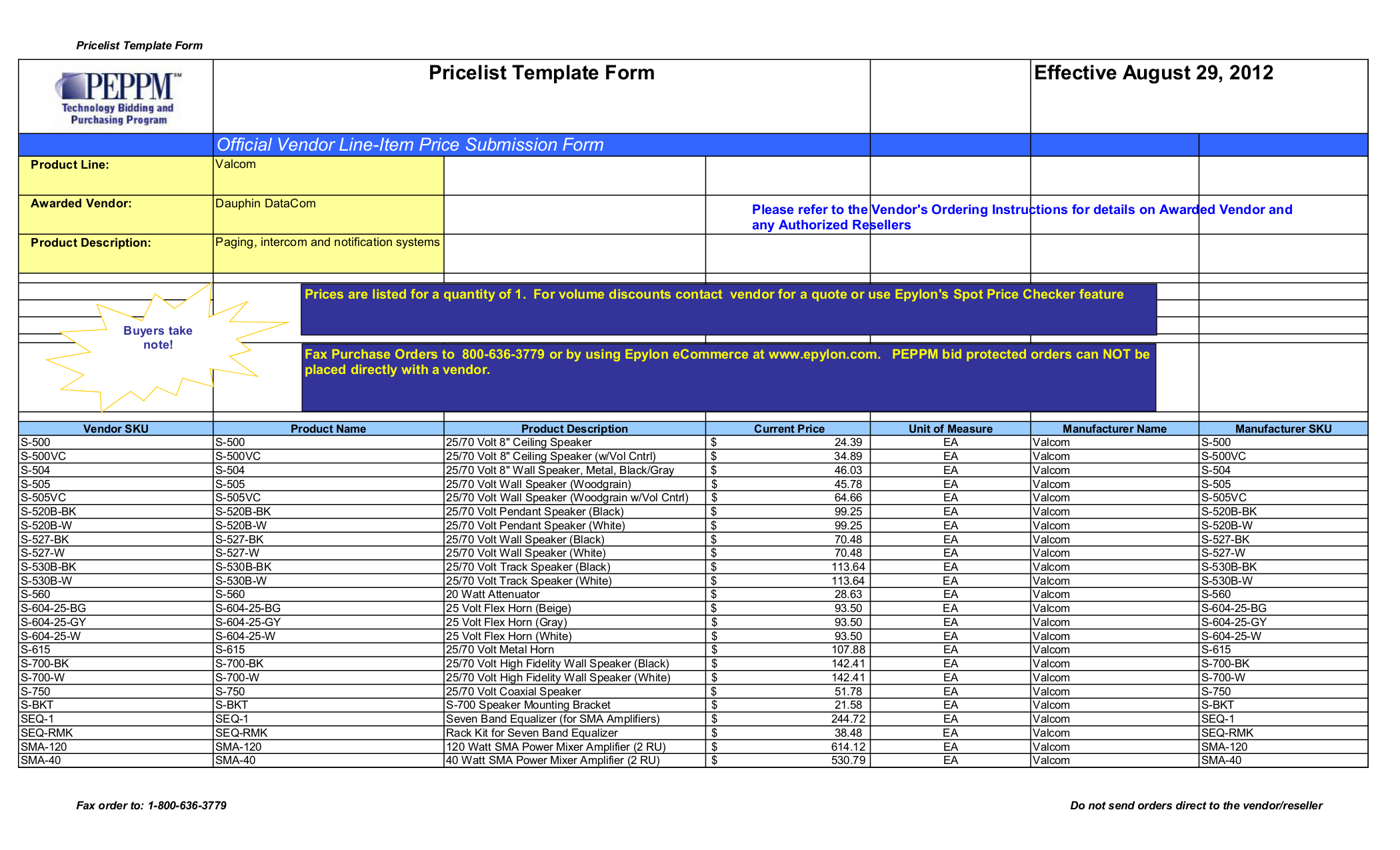 pdf for Valcom Speaker V1022C manual