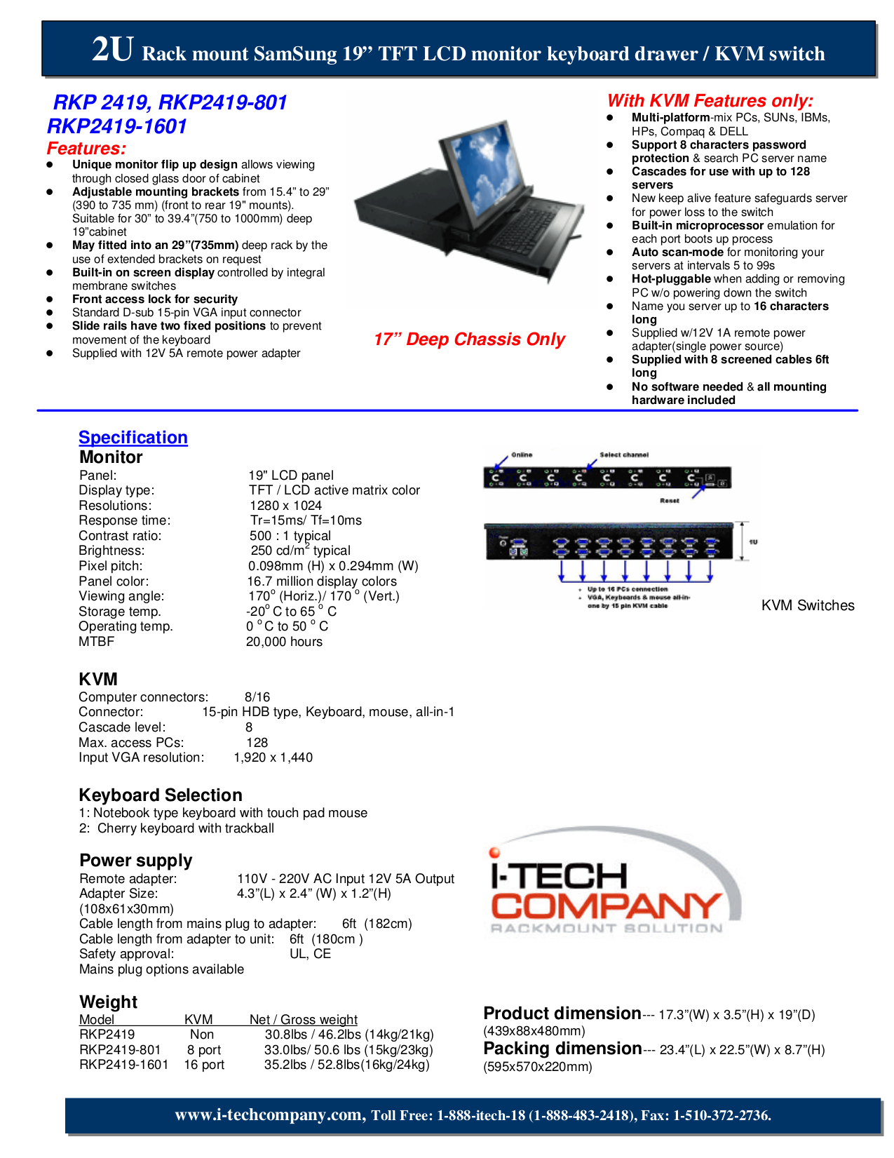 pdf for I-Tech Other RKP2419-1601 Keyboard Drawers manual