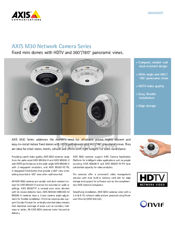 pdf for Axis Security Camera M3011 manual