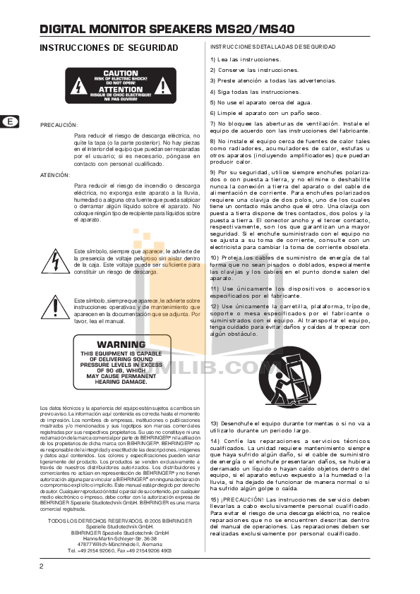 Behringer Speaker MS20 pdf page preview