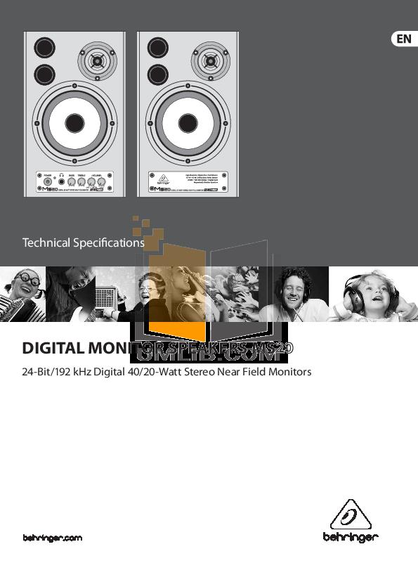 pdf for Behringer Speaker MS20 manual