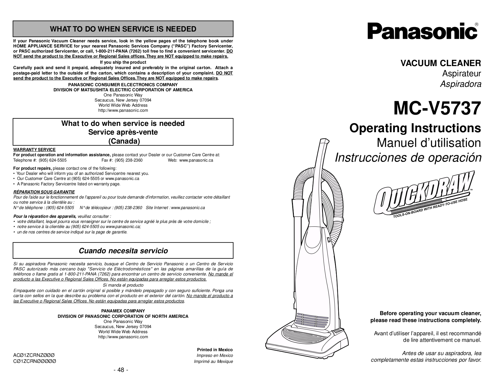 pdf for Panasonic Vacuum MC-V5737 manual