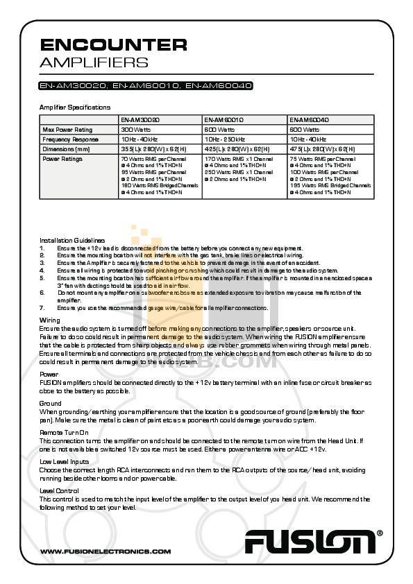 pdf for Fusion Car Amplifier Encounter EN-AM60010 manual