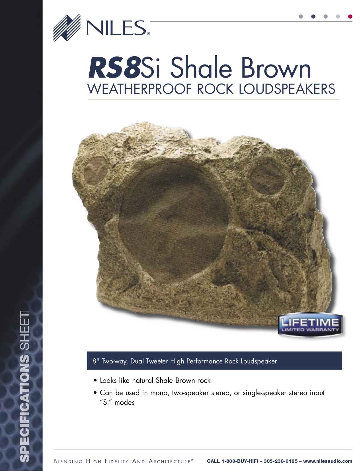 pdf for Niles Speaker RS8Si Shale Brown manual