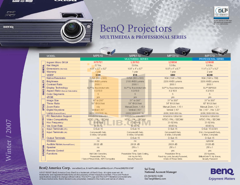 pdf for Benq Projector MP510 manual