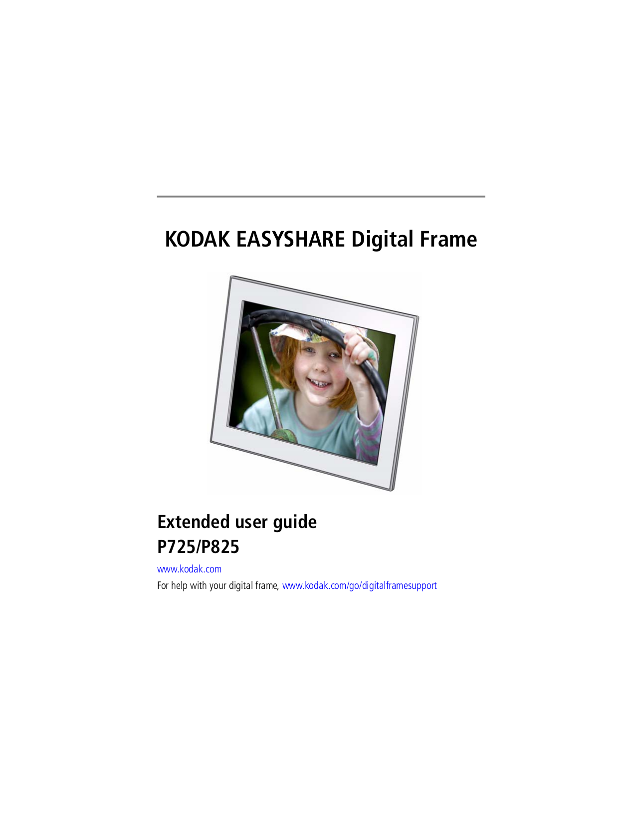 pdf for Kodak Digital Photo Frame EasyShare P850 manual