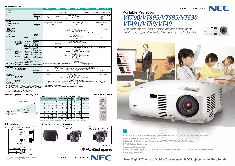 download free pdf for nec vt700 projector manual rh umlib com NEC VT700 Reset NEC NP05LP Replacement Lamp