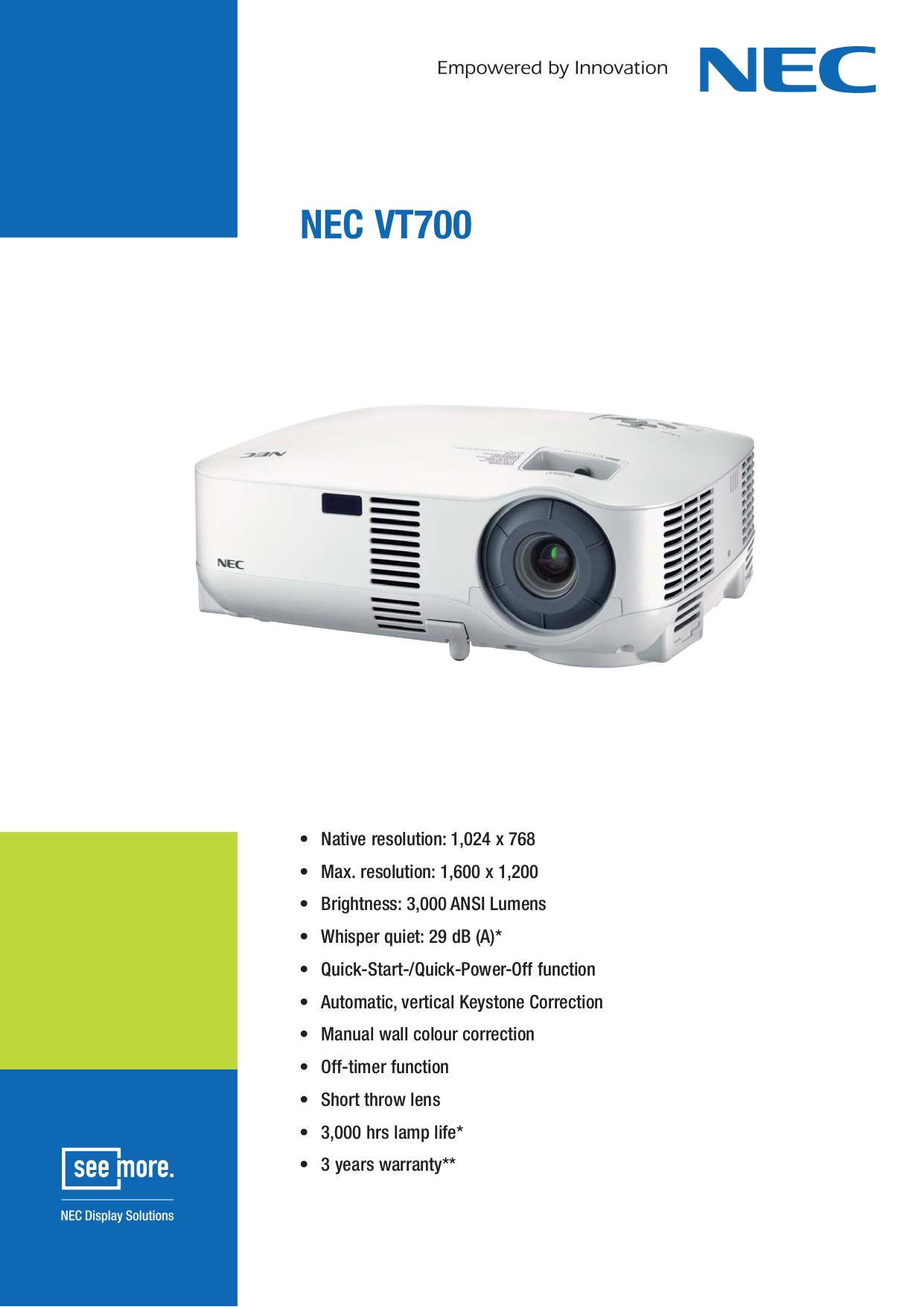 download free pdf for nec vt700 projector manual rh umlib com Ceiling Plate for NEC Projector Ceiling Plate for NEC Projector