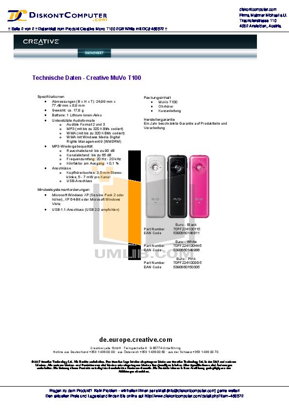 pdf manual for creative mp3 player muvo muvo t100 2gb rh umlib com Creative Speaker MuVo Covers Creative MuVo Speaker