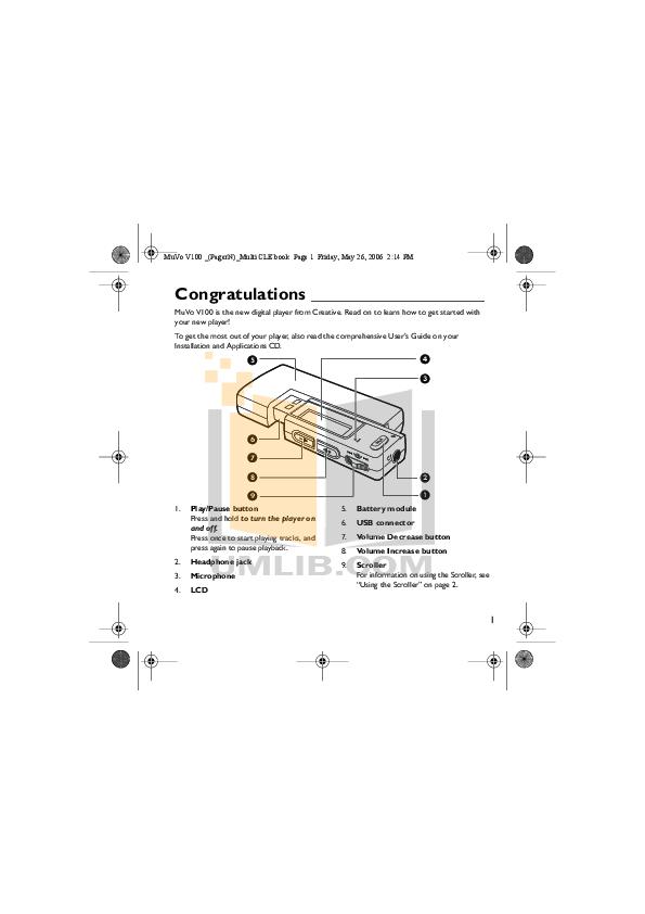 download free pdf for creative muvo muvo t100 2gb mp3 player manual rh umlib com Creative Nomad MuVo Creative Speaker MuVo Covers