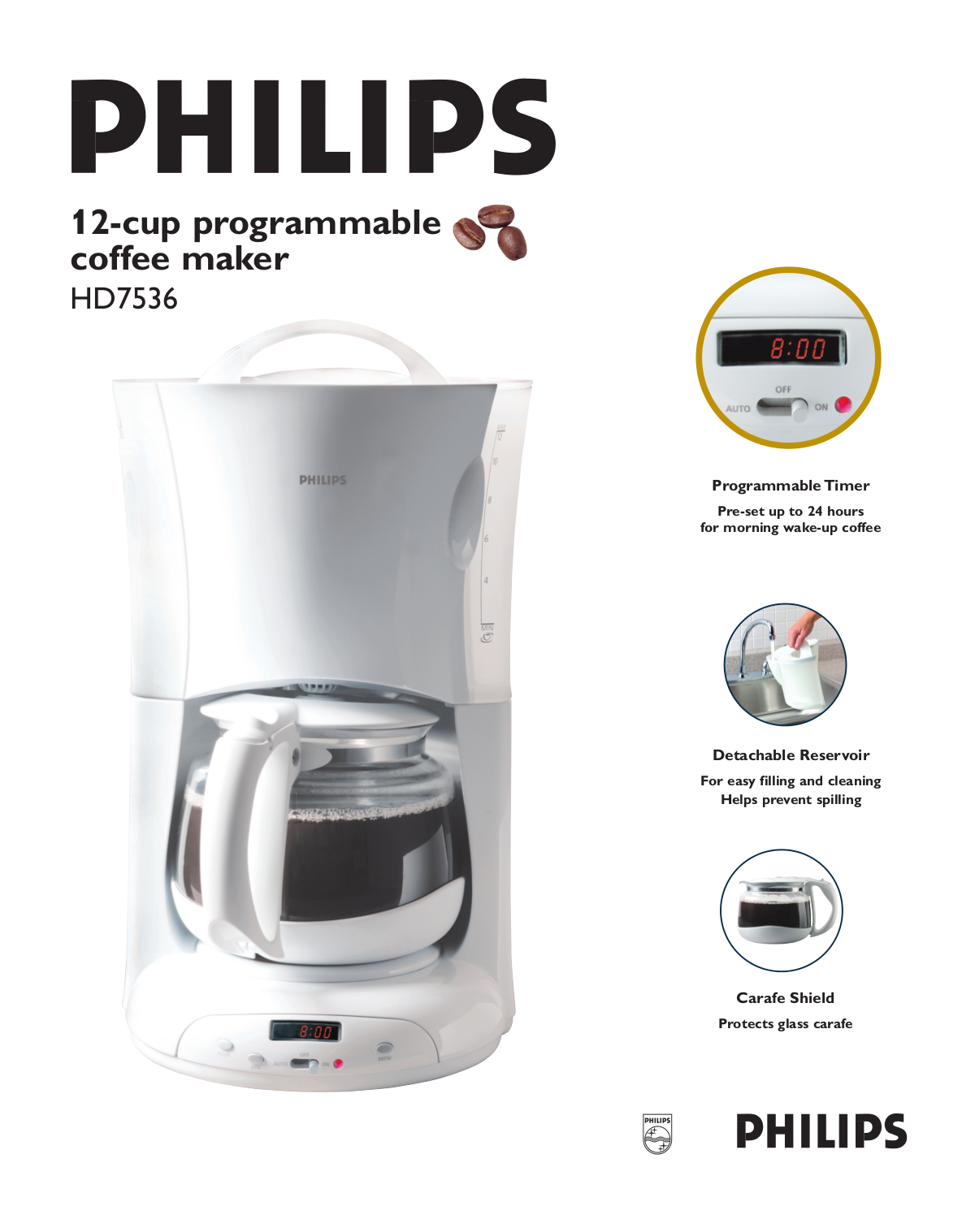 download free pdf for philips hd7536 coffee maker manual. Black Bedroom Furniture Sets. Home Design Ideas