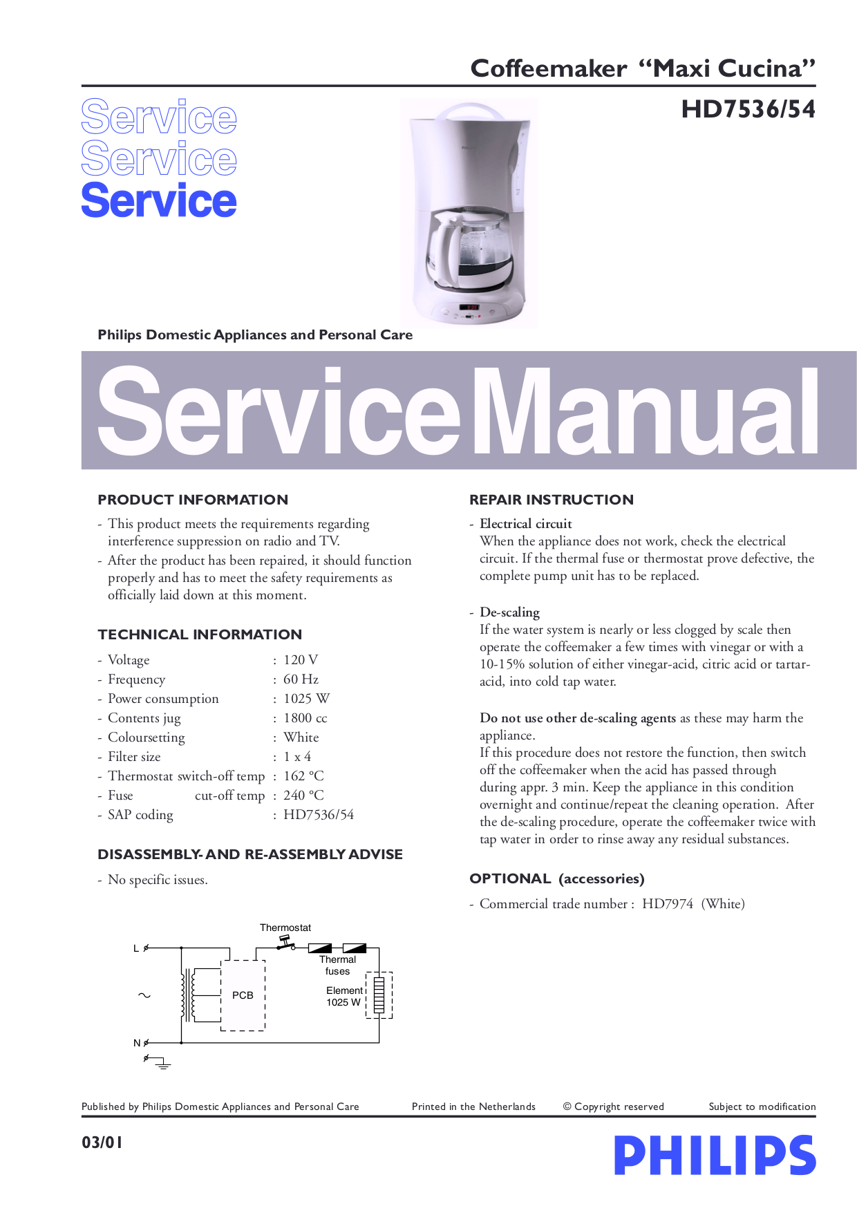 Philips Coffee Maker Manual : Download free pdf for Philips HD7536 Coffee Maker manual