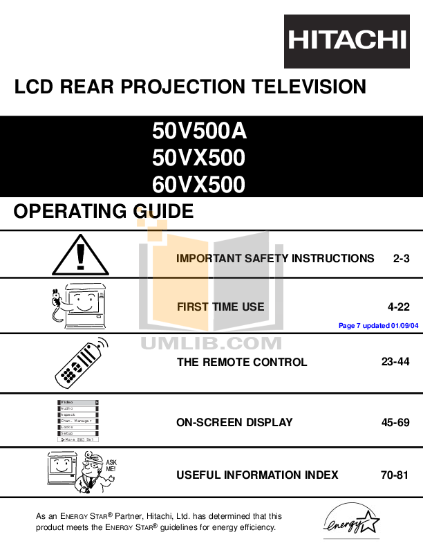 pdf for Hitachi TV 50VX500 manual