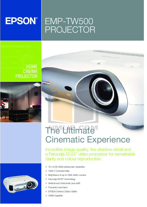 pdf for Epson Projector EMP-TW 500 manual
