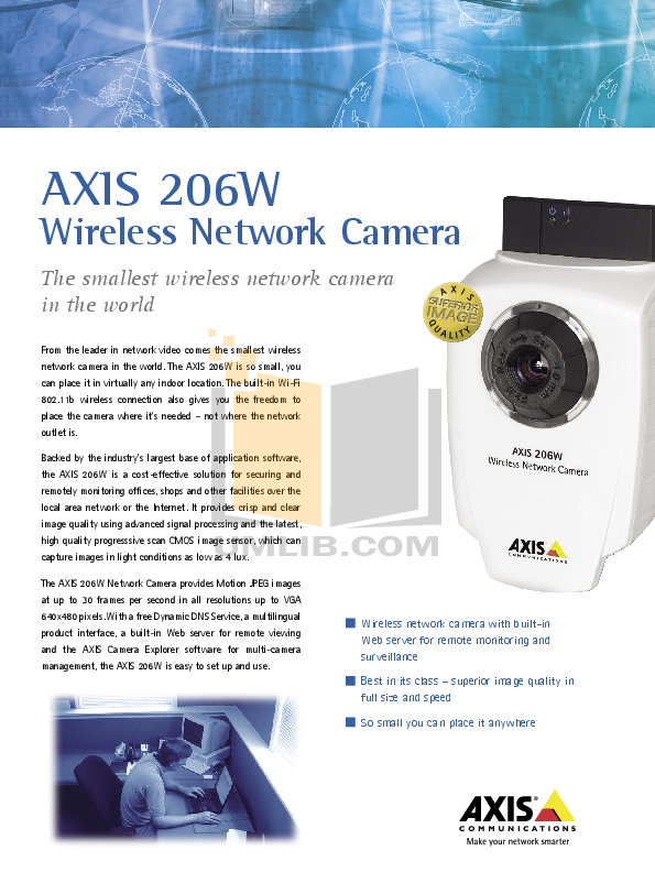 pdf for Axis Security Camera 206W manual