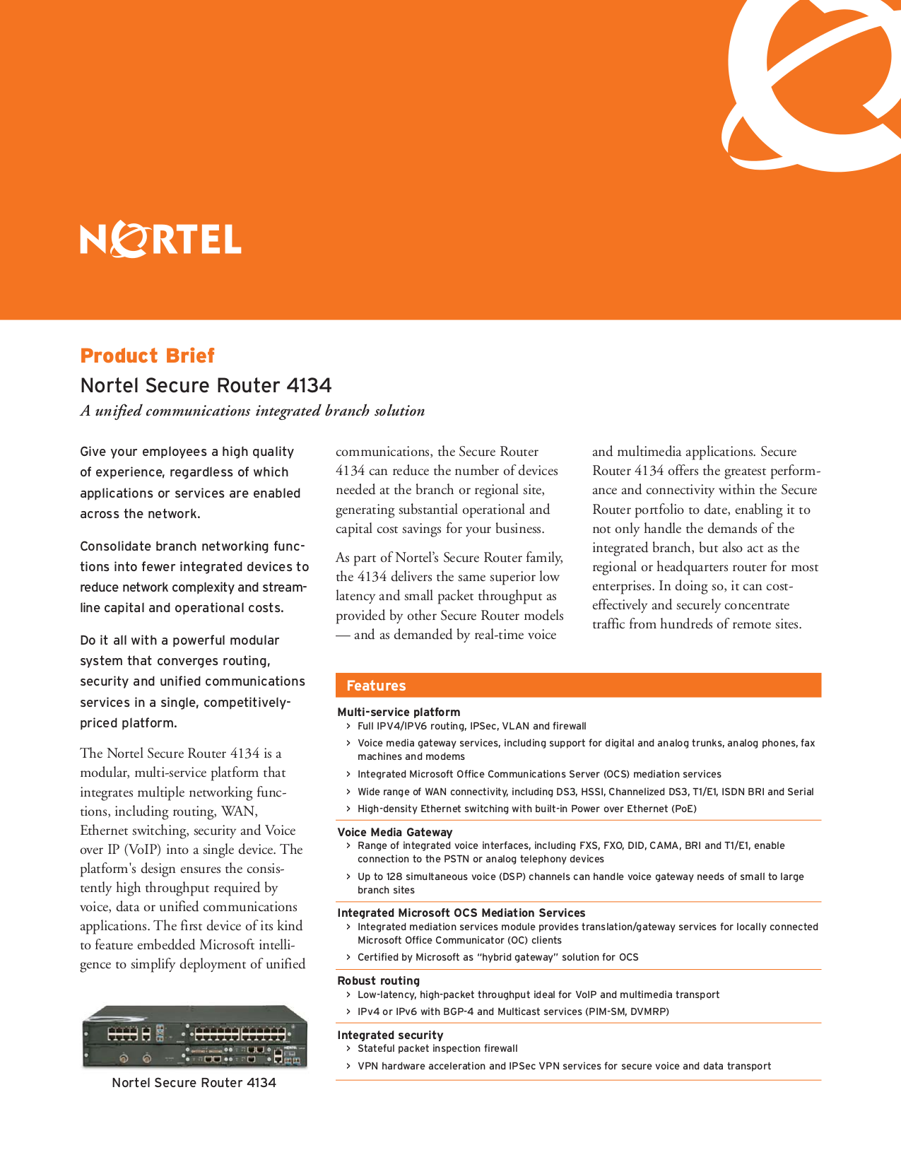 pdf for Nortel Router Secure 4134 manual