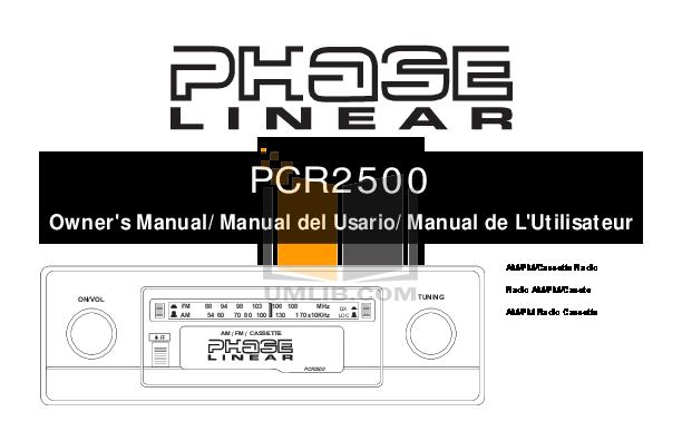 pdf for Audiovox Car Receiver PCR2500CS manual