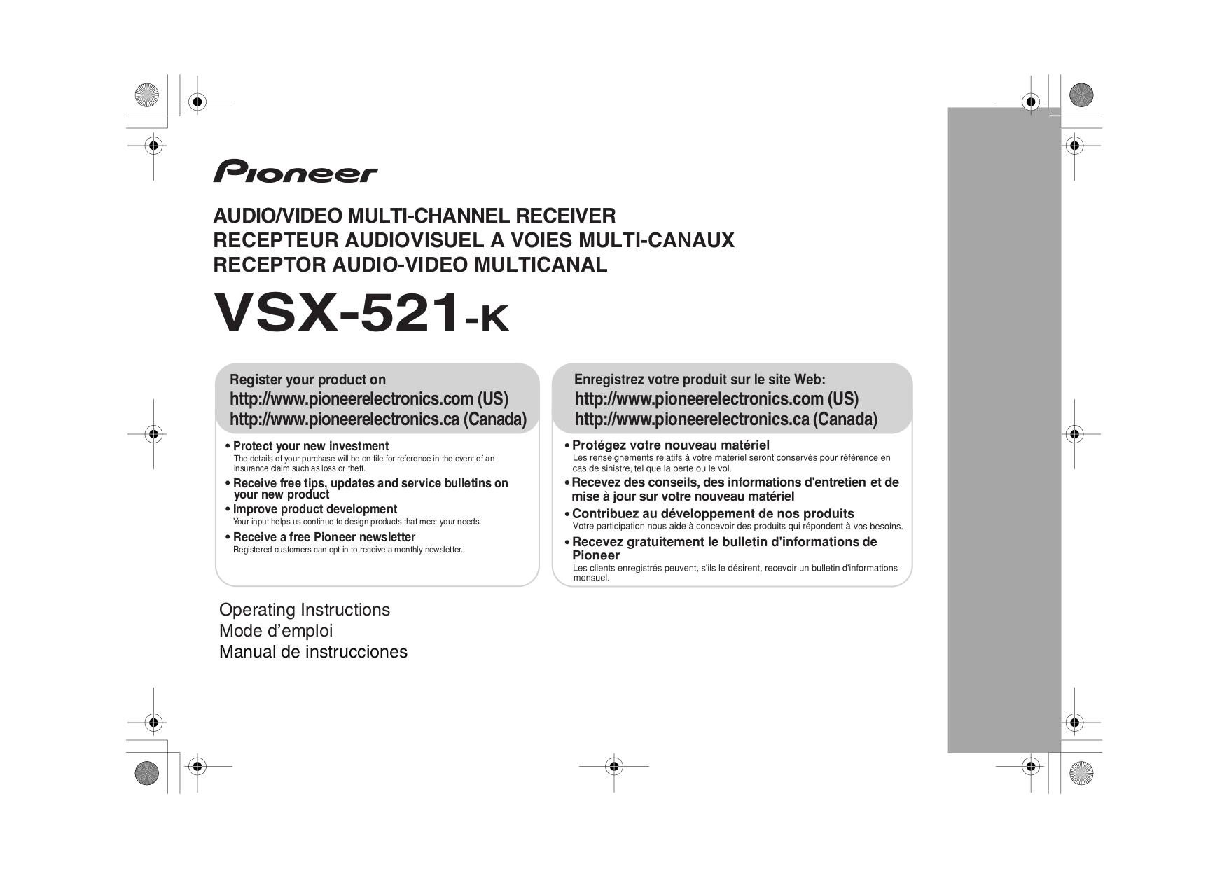 download free pdf for pioneer vsx 521 k receiver manual rh umlib com Pioneer VSX D457 Operating Manual Pioneer VSX D457 Operating Manual