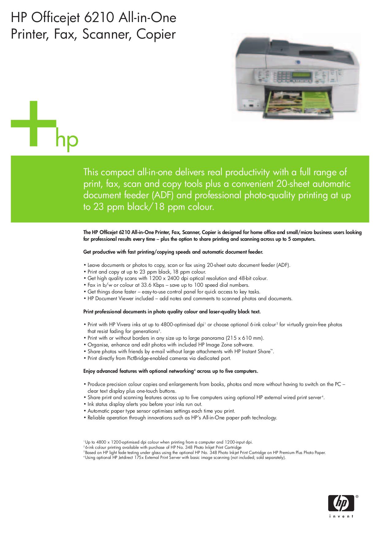 pdf for HP Multifunction Printer Officejet 6210xi manual