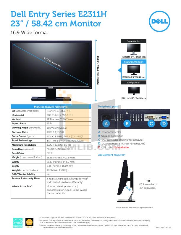 pdf for Dell Monitor P2411H manual