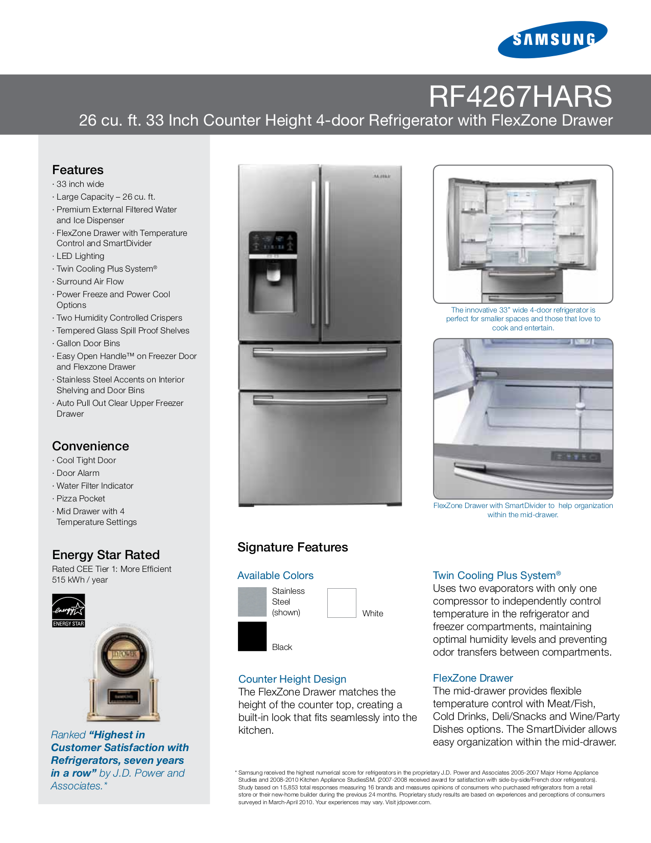 pdf for Samsung Refrigerator RF4267HARS manual