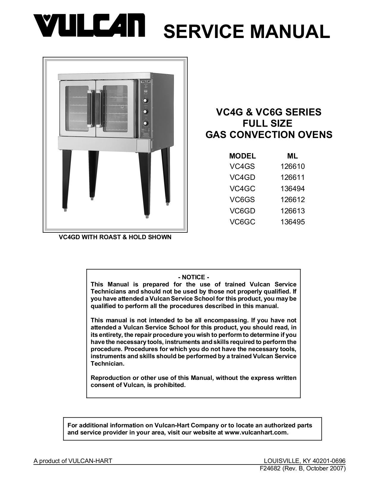 pdf for Vulcan Oven VC6GC manual