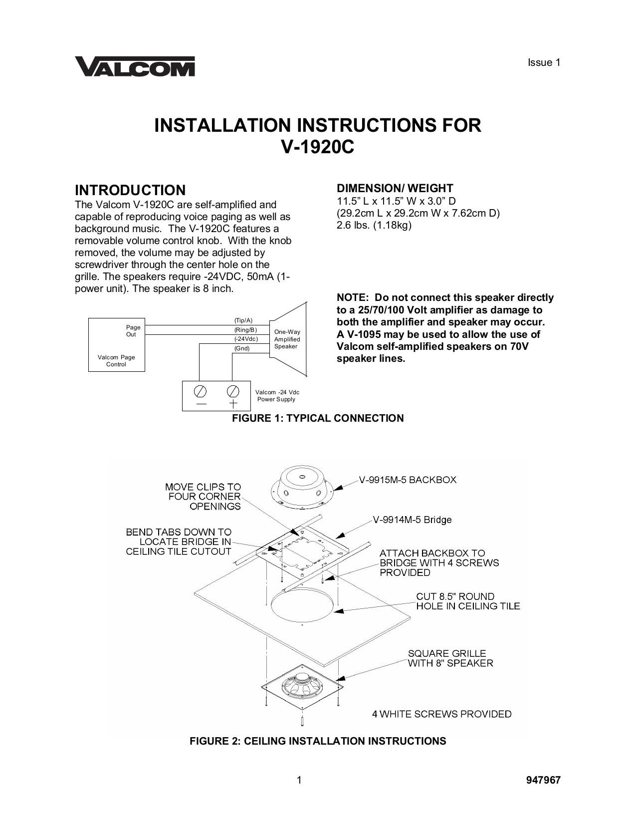 pdf for Valcom Speaker V1920C manual
