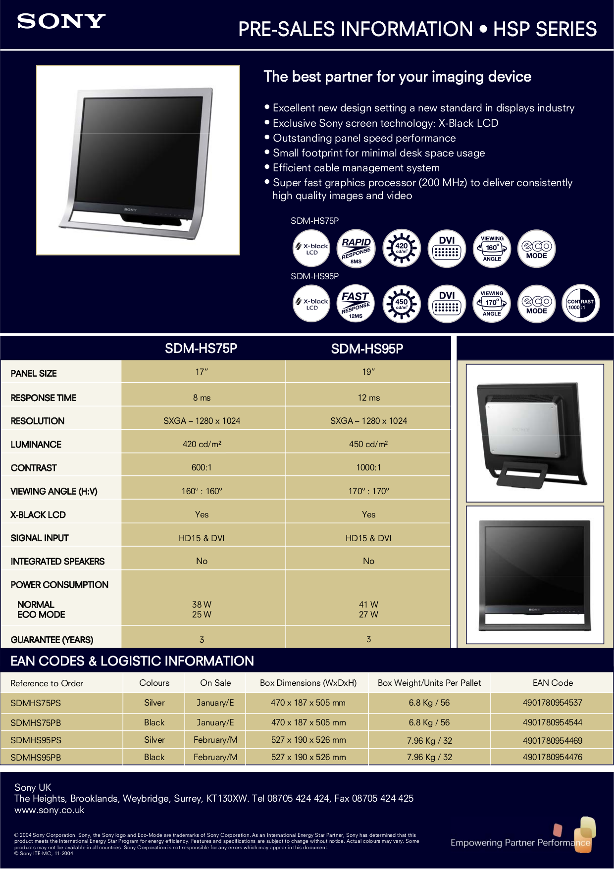 pdf for Sony Monitor SDM-HS75PS manual