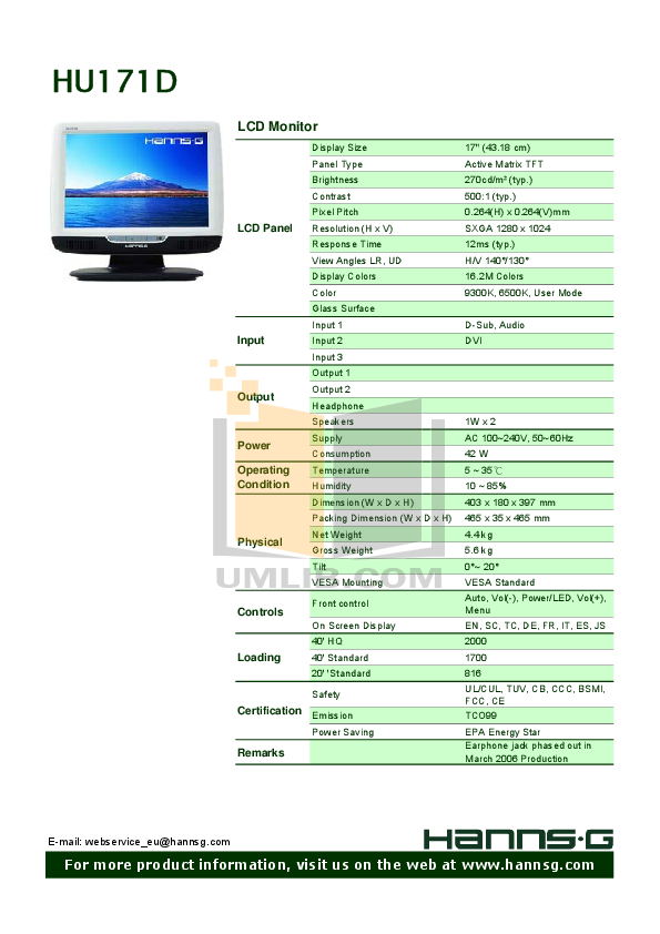 pdf for HannsG Monitor HU171D manual