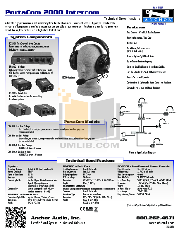 pdf for Anchor Headset COM60FC manual