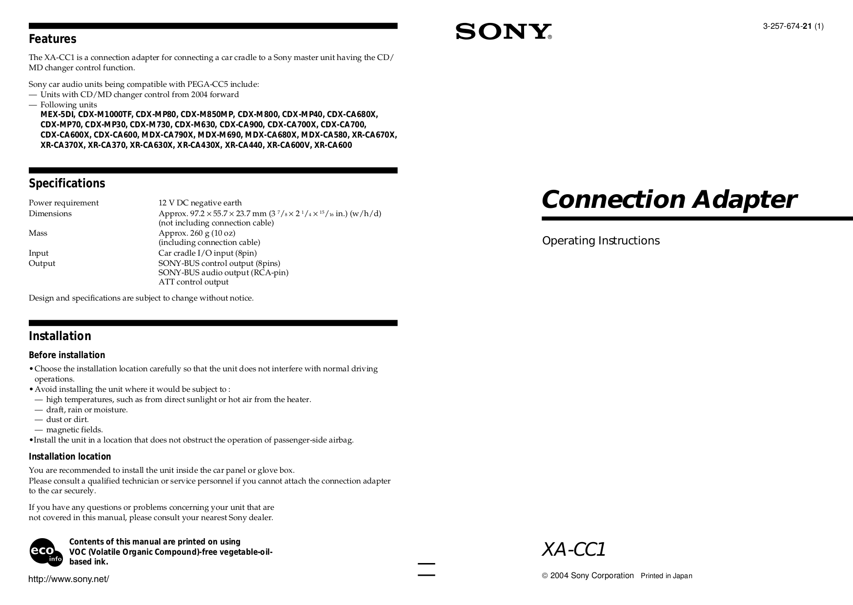 pdf for Sony Car Receiver CDX-MP40 manual