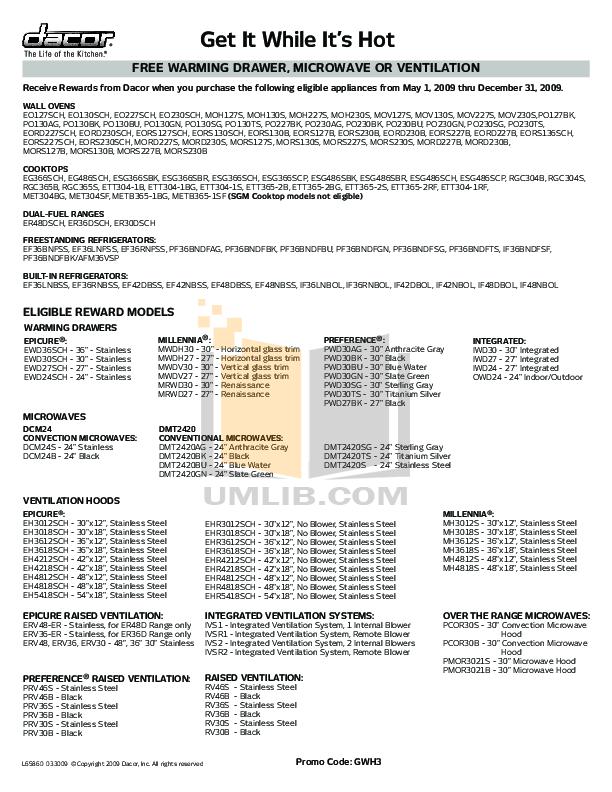 pdf for Dacor Range Epicure ESG486SCP manual