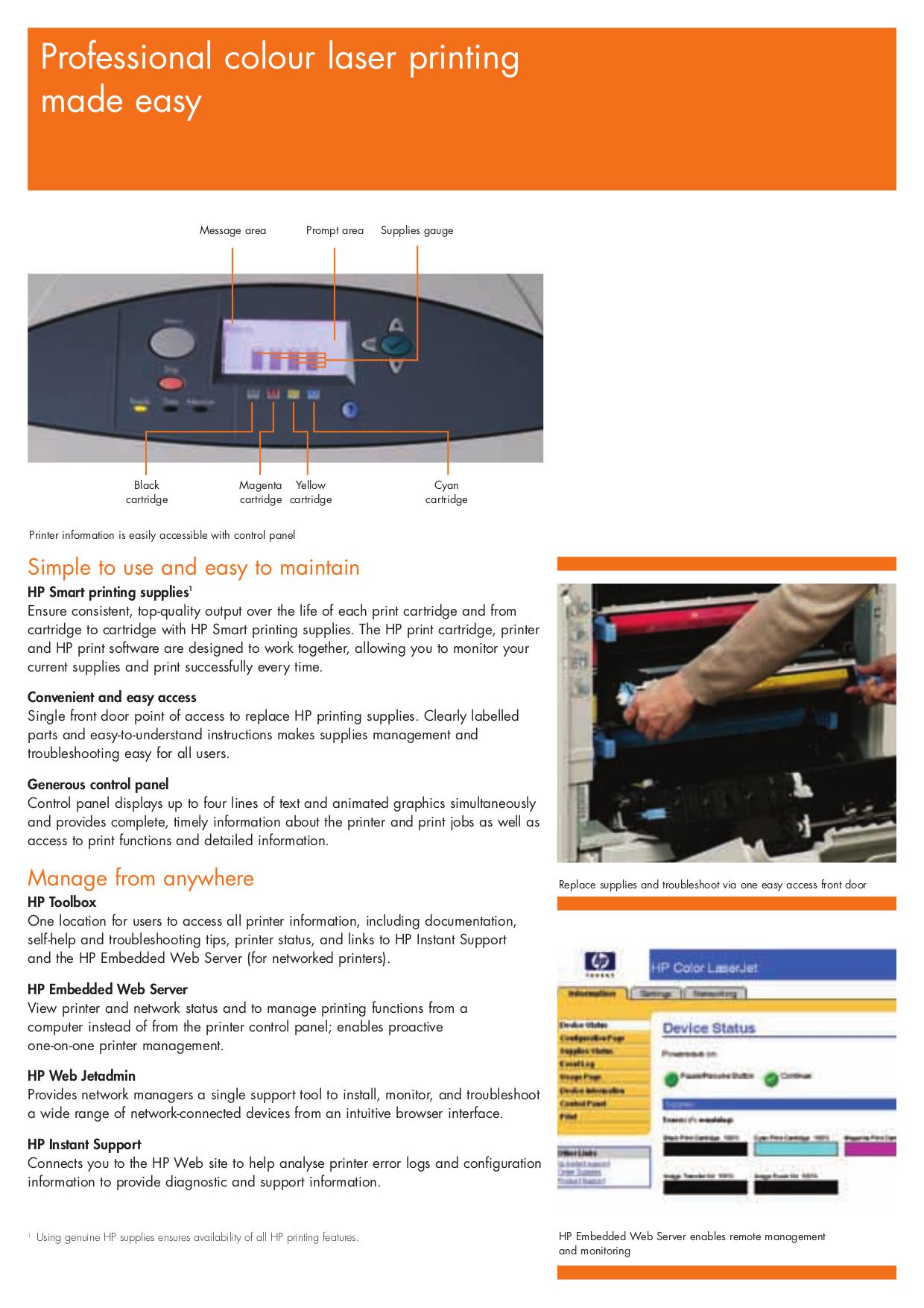 PDF manual for HP Printer Laserjet,Color Laserjet 5550n