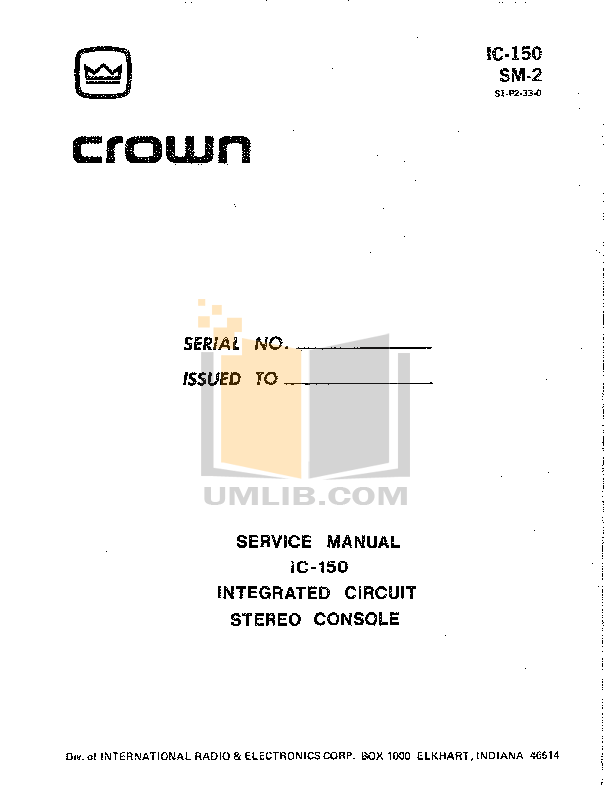 pdf for Crown Other SL-1 Stereo Preamplifiers manual