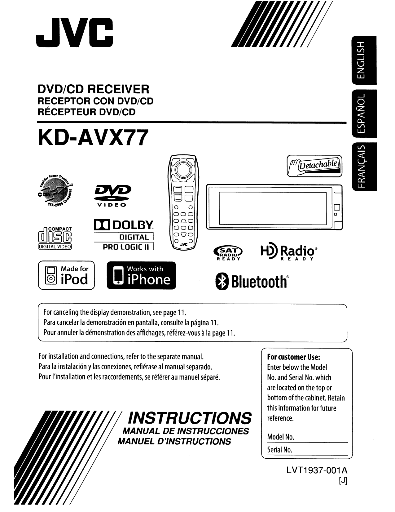 Download Free Pdf For Jvc Kd Avx77 Car Video Manual Wiring Diagram