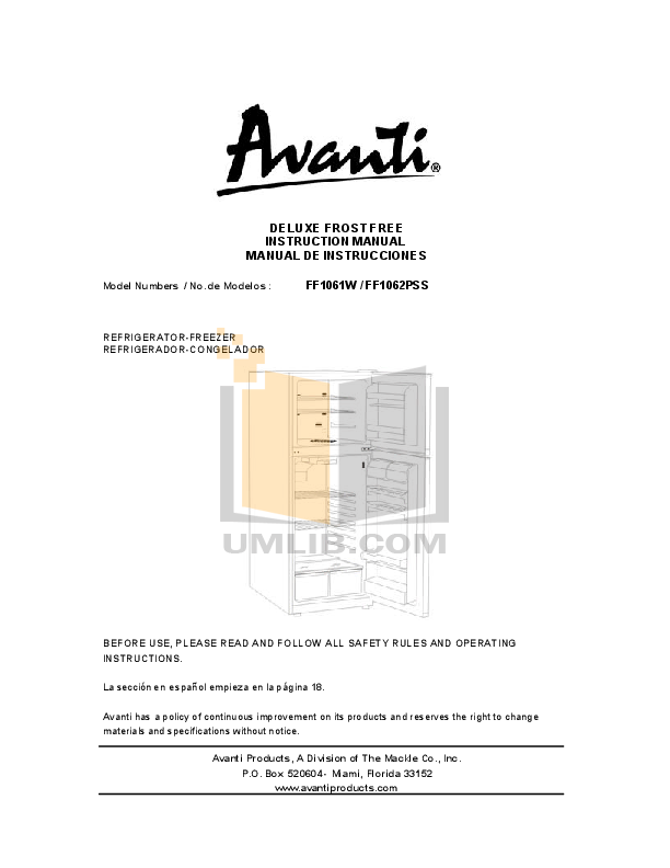 pdf for Avanti Refrigerator FF1062PSS manual