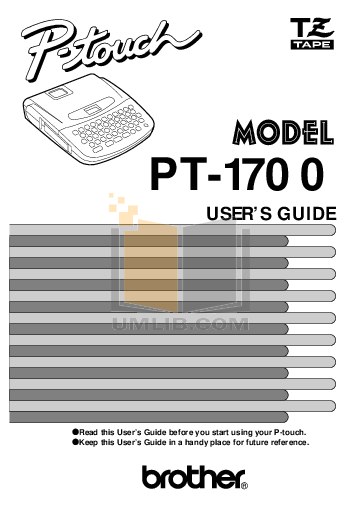 pdf for Brother Printer PT-1700 manual