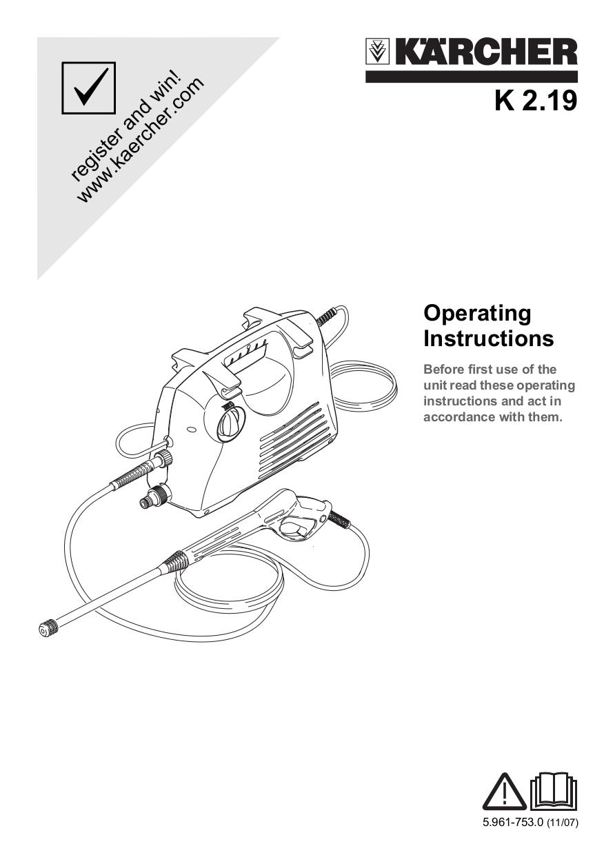 pdf for Karcher Other K 2.19 Pressure Washers manual