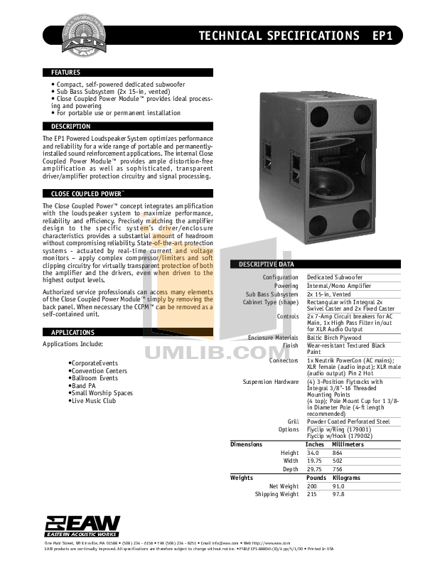 pdf for Eaw Speaker System EP1 manual