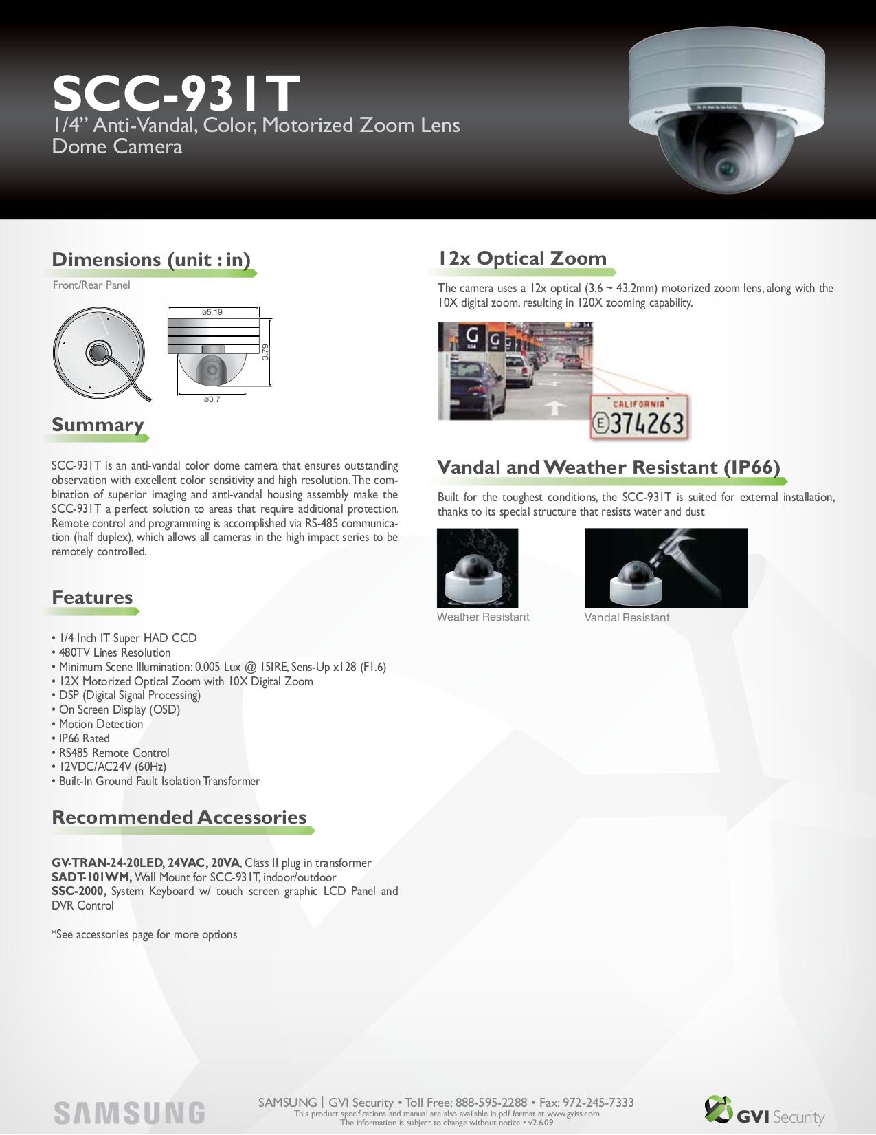 pdf for Samsung Security Camera SCC-931T manual