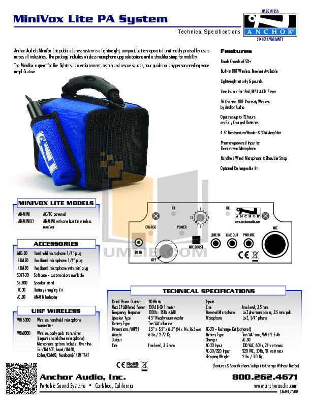 pdf for Anchor Speaker AN-MINIU1 manual