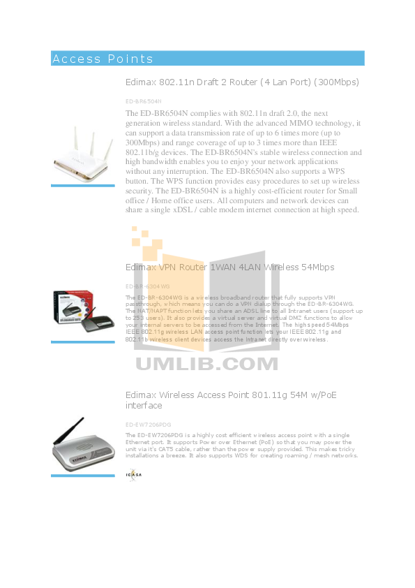 pdf for Edimax Wireless Router BR-6215SRg manual
