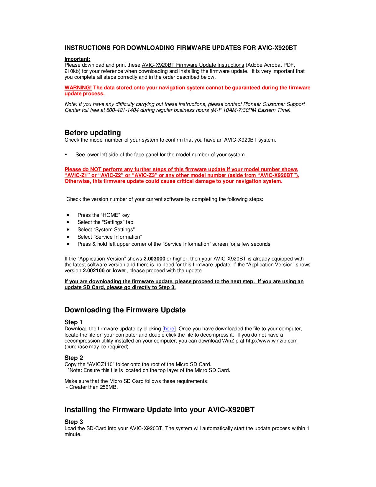 Pioneer avic x920bt firmware update.