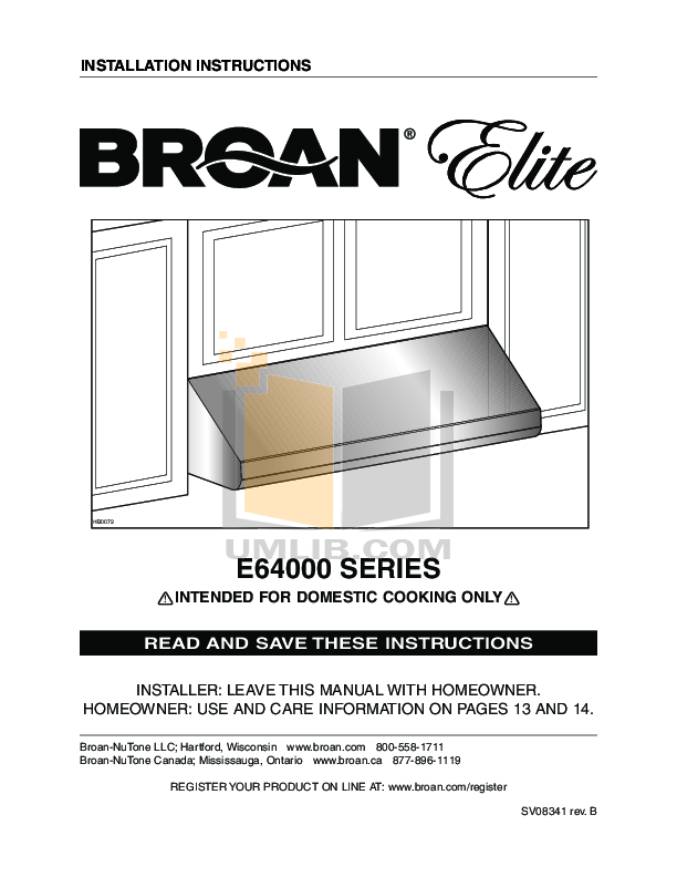pdf for Broan-NuTone Other HLB9 In-Line Blowers manual