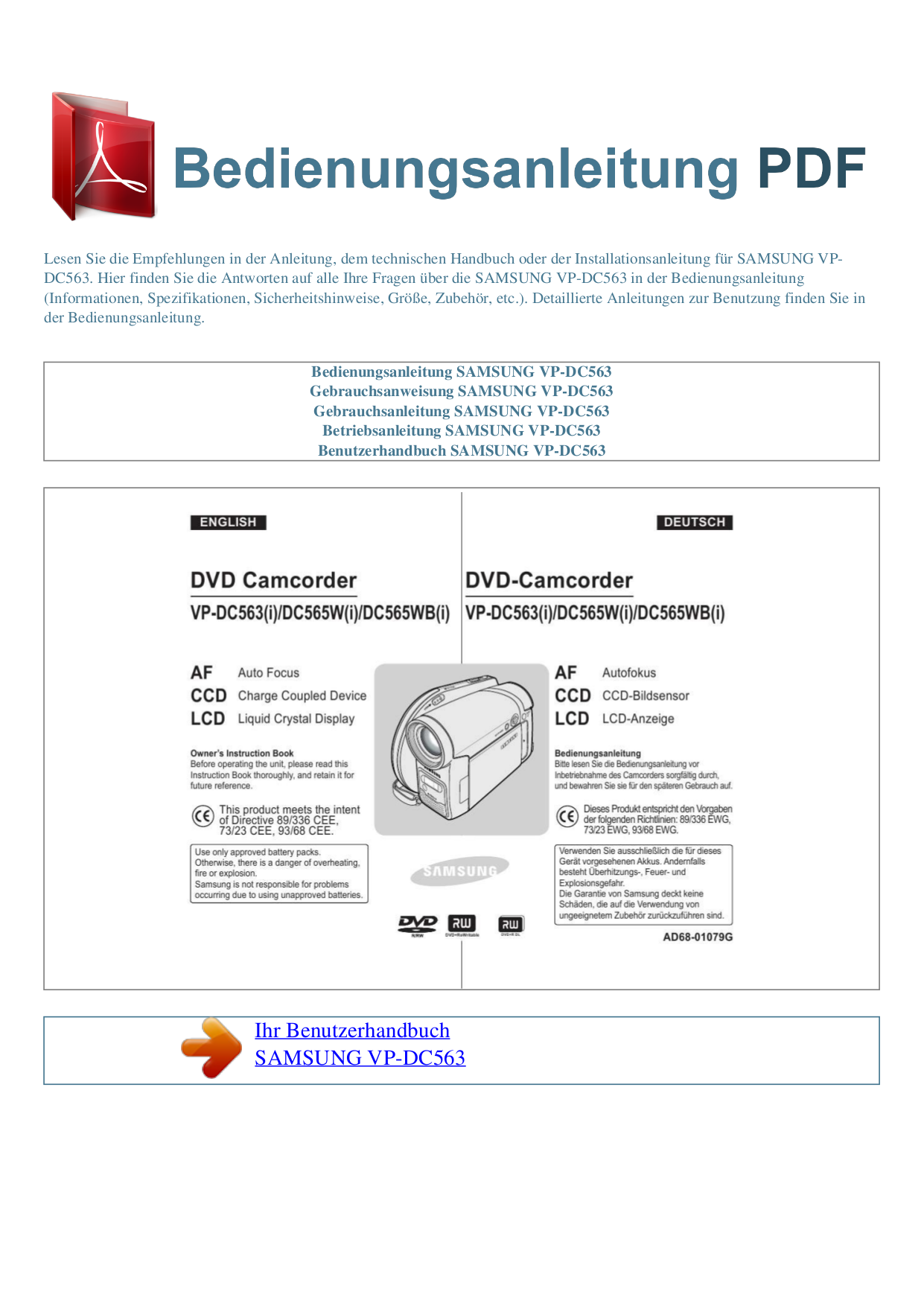 pdf for Samsung Camcorders VP-DC563 manual