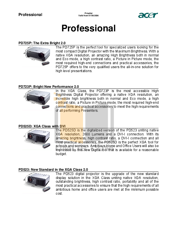 pdf for Acer Projector PD113P manual