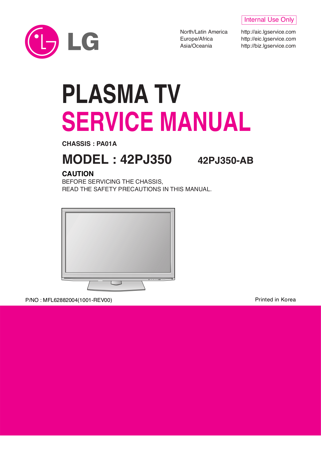 pdf for LG TV 42PJ350 manual
